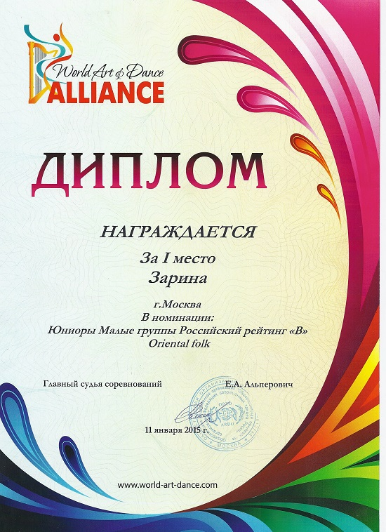 World Art of Dance Alliance — 2015 год (Юниоры)
